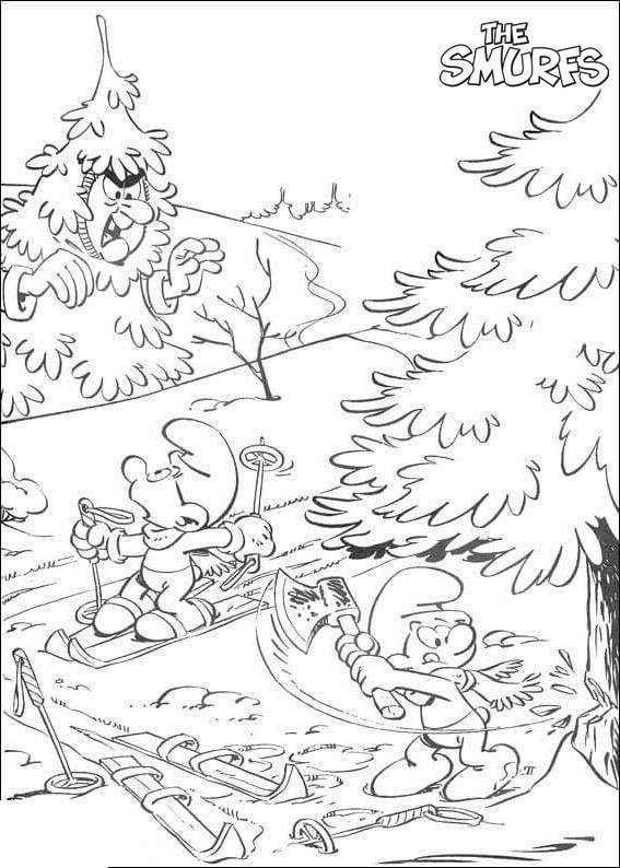 Free Smurfs Coloring Pages Cut Tree with Axe printable