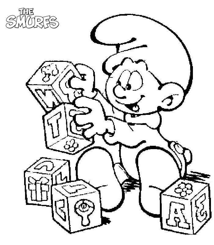Smurfs Coloring Pages Learning Letters - Free Printable Coloring Pages