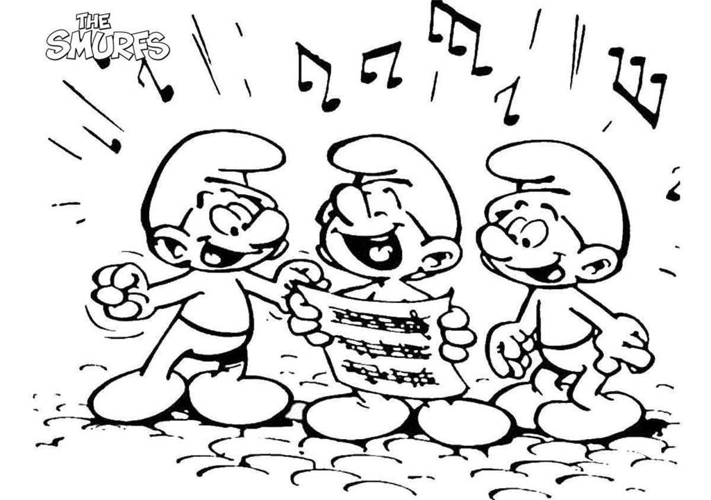 Free Smurfs Coloring Pages Singing printable