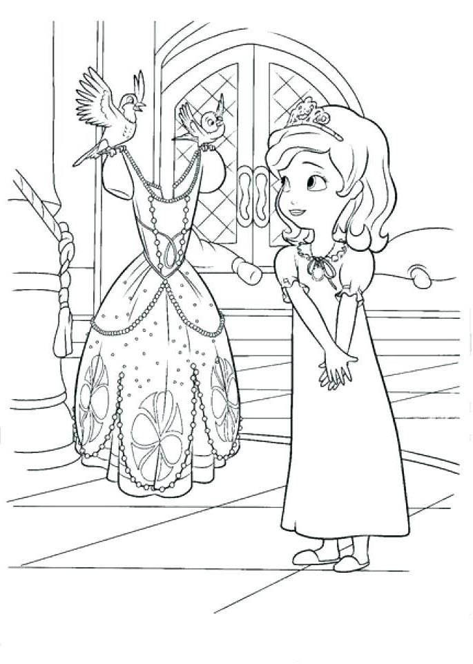 Sofia The First Coloring Pages And New Clothes Free