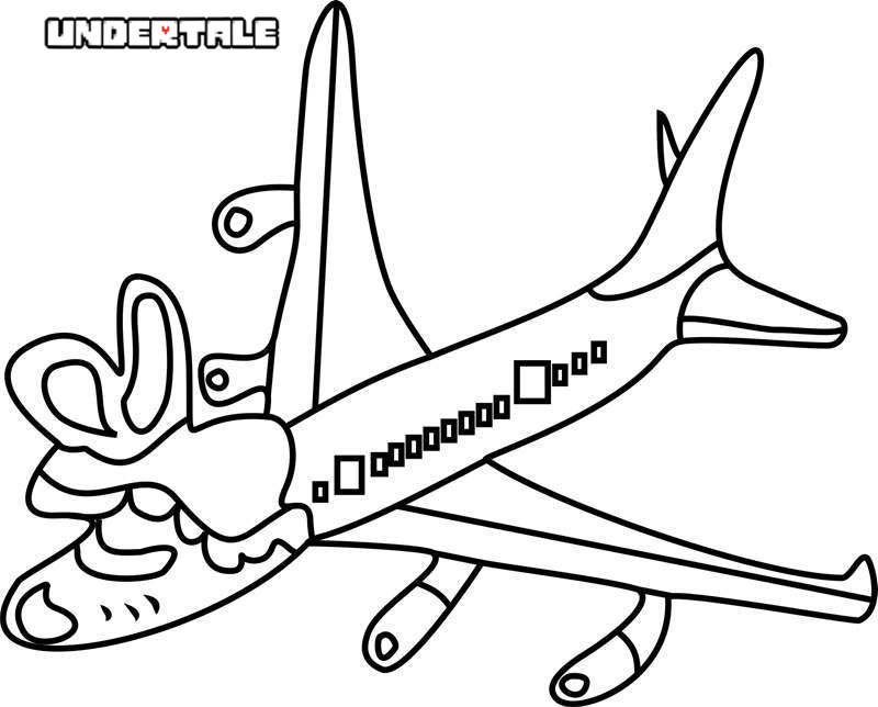 Free Tsunderplane from Undertale Coloring Pages printable