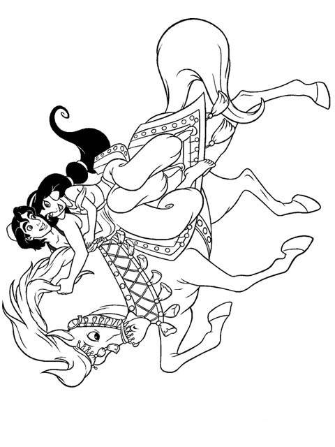 Free Easy Aladdin Coloring Pages Black and White printable