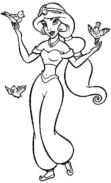 Fancy Aladdin Coloring Pages Line Drawing - Free Printable Coloring ...