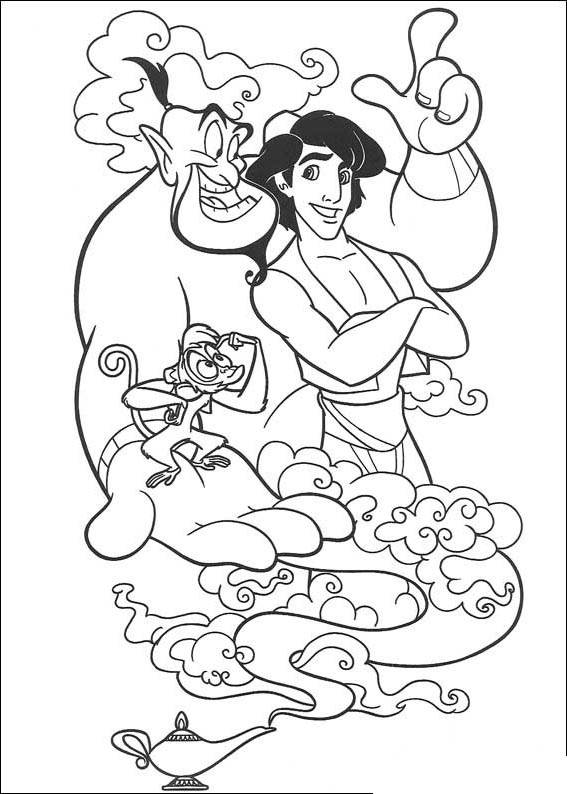 Free Free Aladdin Coloring Pages Characters printable