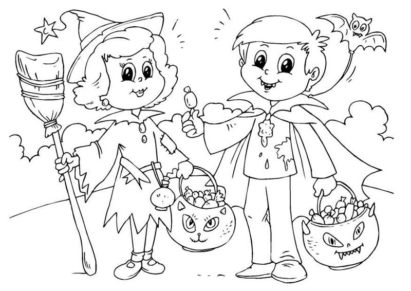 Free Trick Or Treat Coloring Pages Hand Drawing