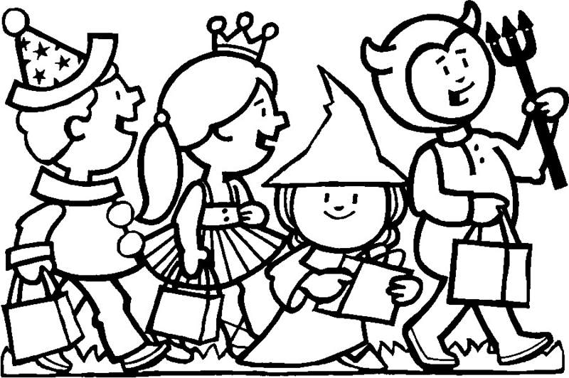 Free Free Trick or Treat Coloring Pages Outline printable