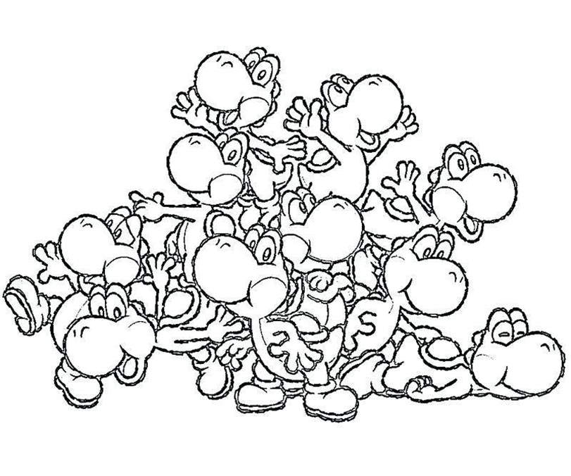 Free Free Yoshi Coloring Pages Black and White printable