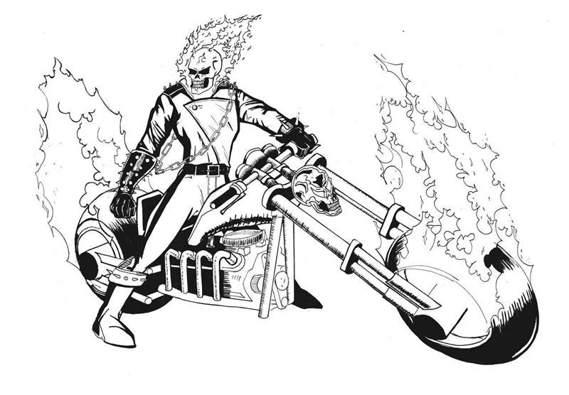 Free Ghost rider coloring pages black and white printable