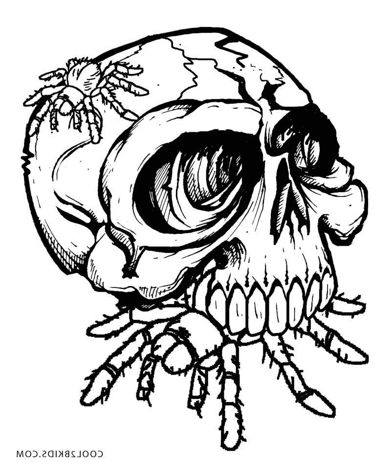 Horror Coloring Pages Characters Spider Skull Free Printable