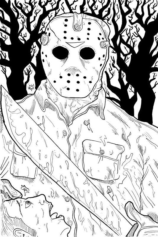 Free New Horror Coloring Pages Black and White Mask Man printable