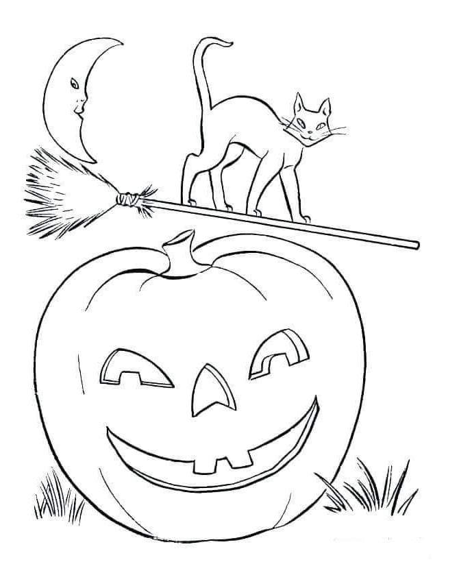 Printable Halloween Pumpkins Coloring Pages Line Drawing ...
