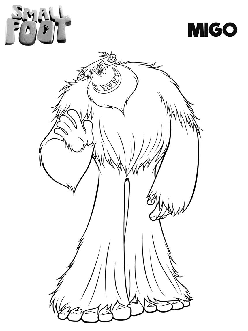 Free Printable Smallfoot Coloring Pages Outline Migo printable