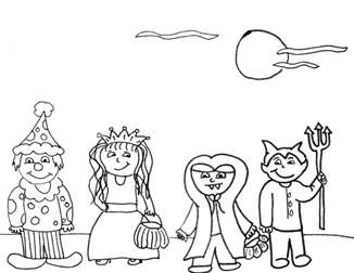 halloween trick or treaters coloring pages | Printable Trick or Treat Coloring Pages Characters - Free ...