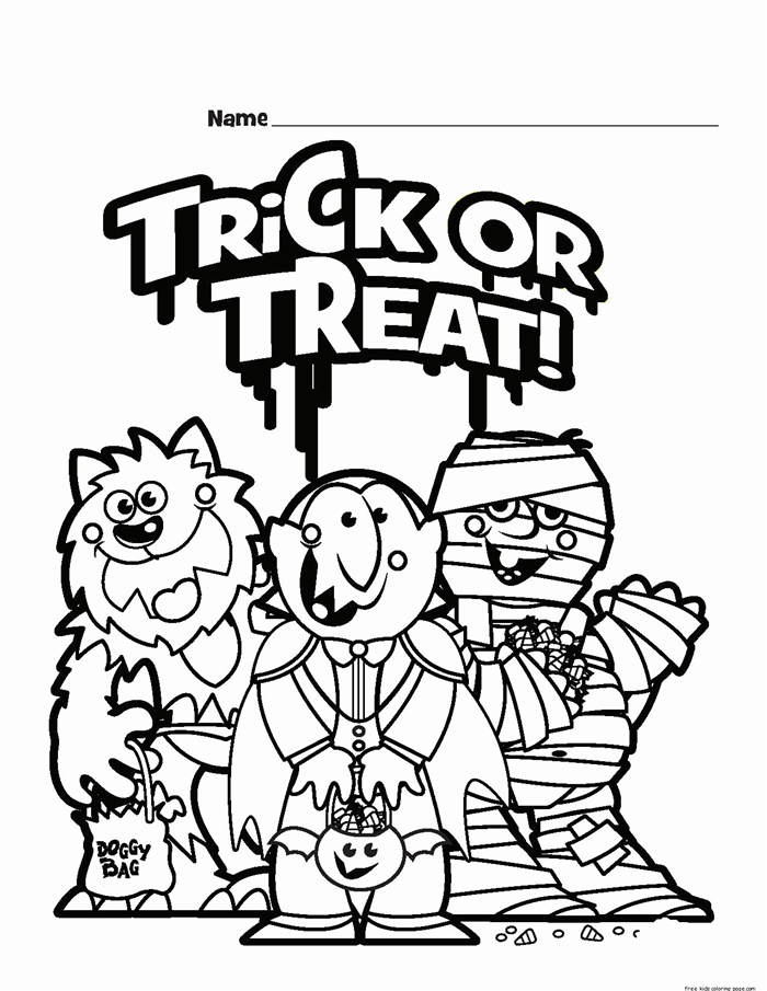 Printable Trick or Treat Coloring Pages for Girls - Free ...