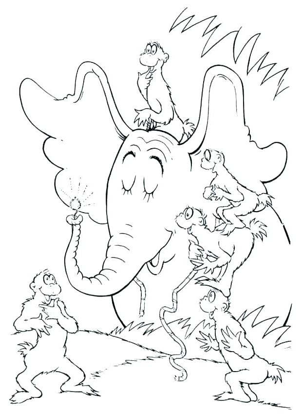 Free Simple Dr Seuss Coloring Pages Line Drawing printable