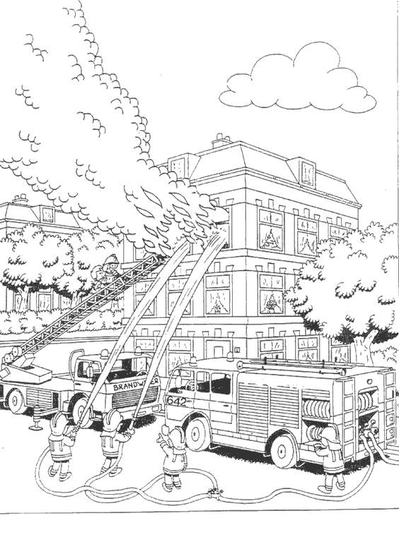 Free Simple Fire Safety Coloring Pages Black and White printable