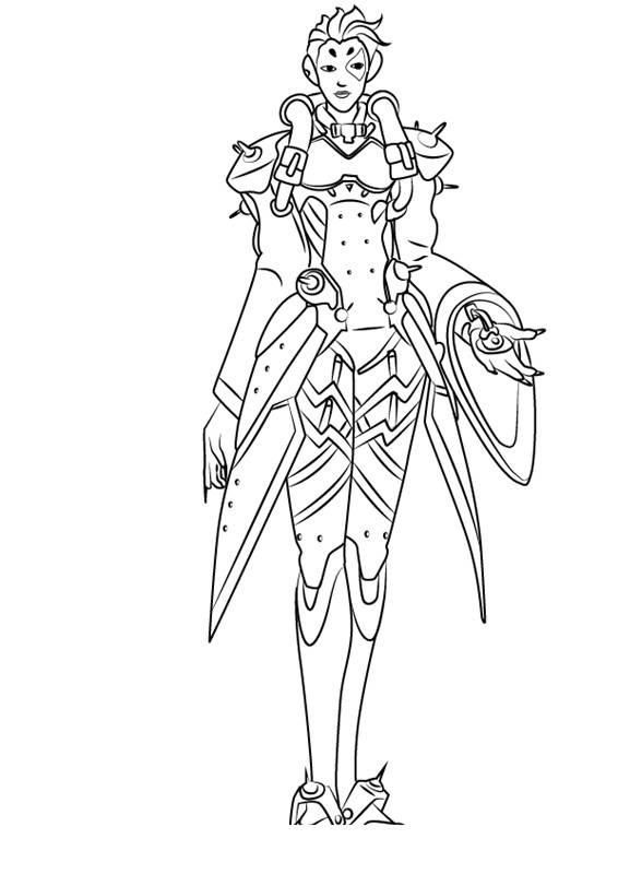 Free Simple Overwatch Coloring Pages Line Drawing Moira printable