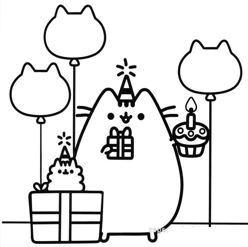 Free Simple Pusheen Coloring Pages Linear printable