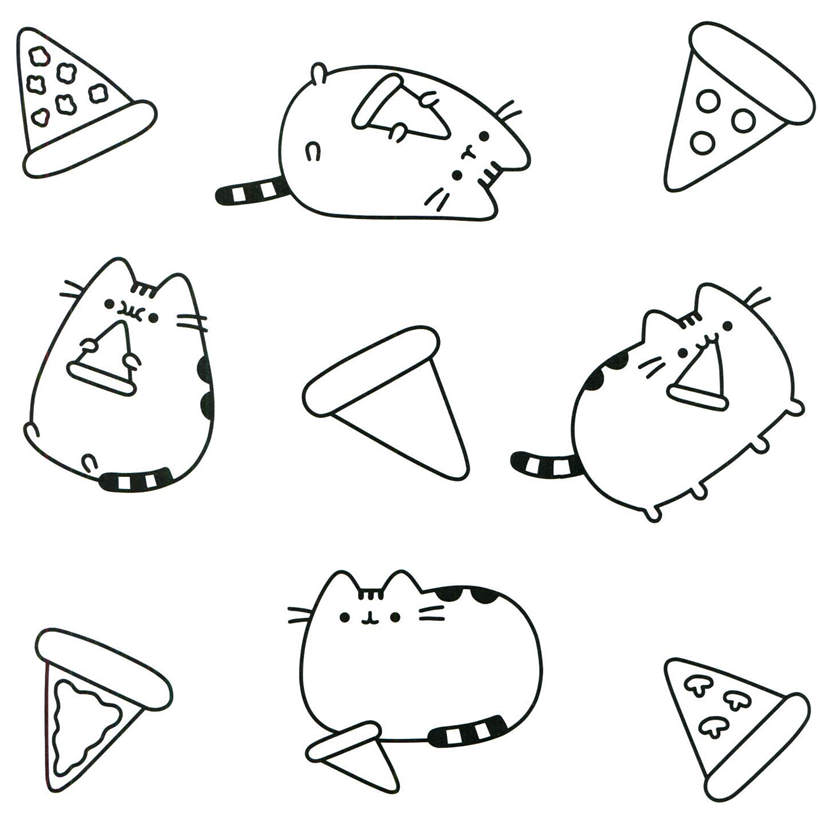 Free Simple Pusheen Coloring Pages Lineart printable