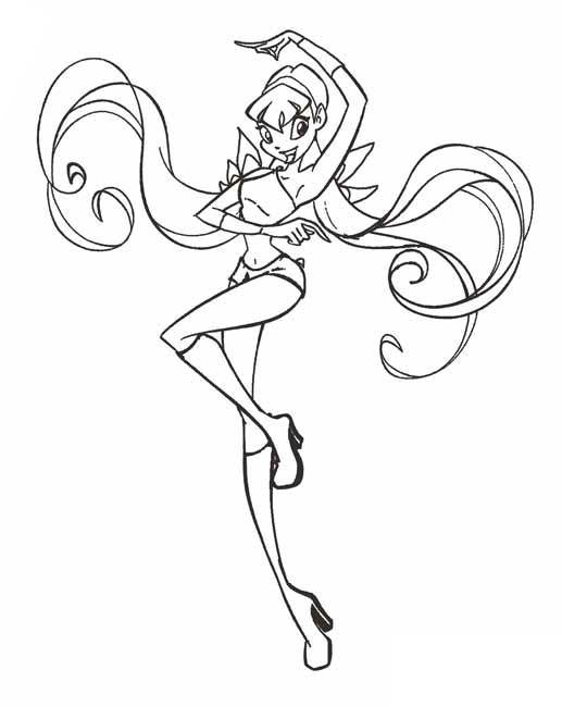 Free Simple Winx Coloring Pages Outline printable