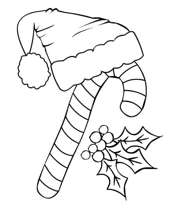 Candy Cane Coloring Pages Drawing Pictures Santa Claus Hat