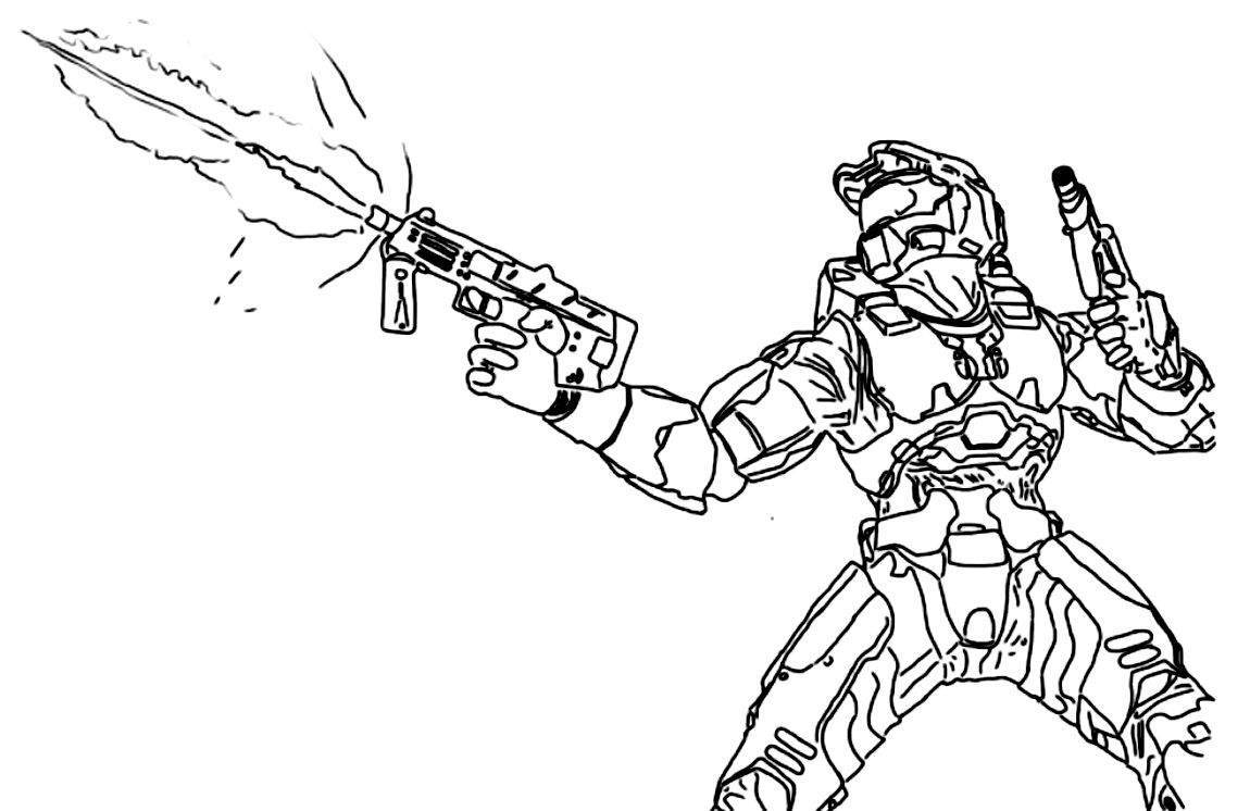 Halo Coloring Pages Easy Black and White On On With Hd 1223 - Free ...