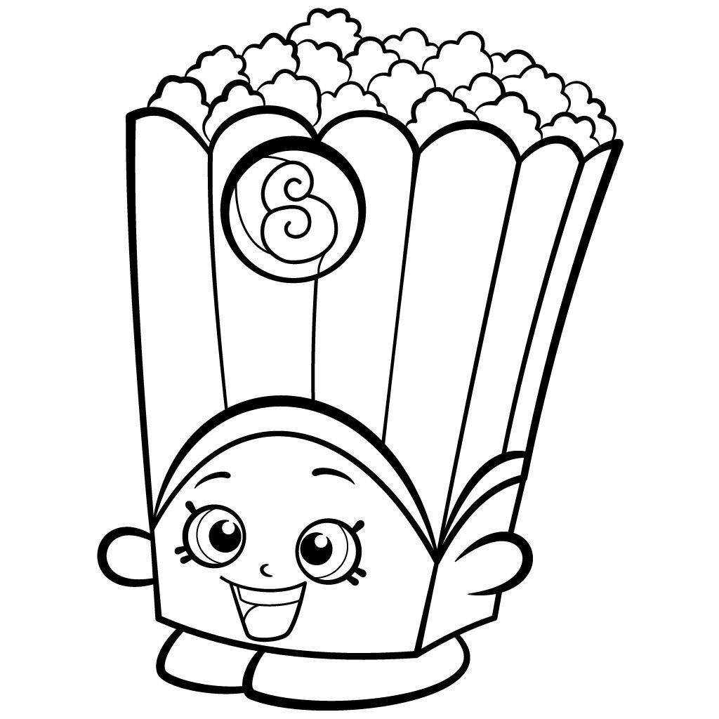 Free Shopkins Coloring Pages Easy Black and White Popcorn Box Season 2 printable
