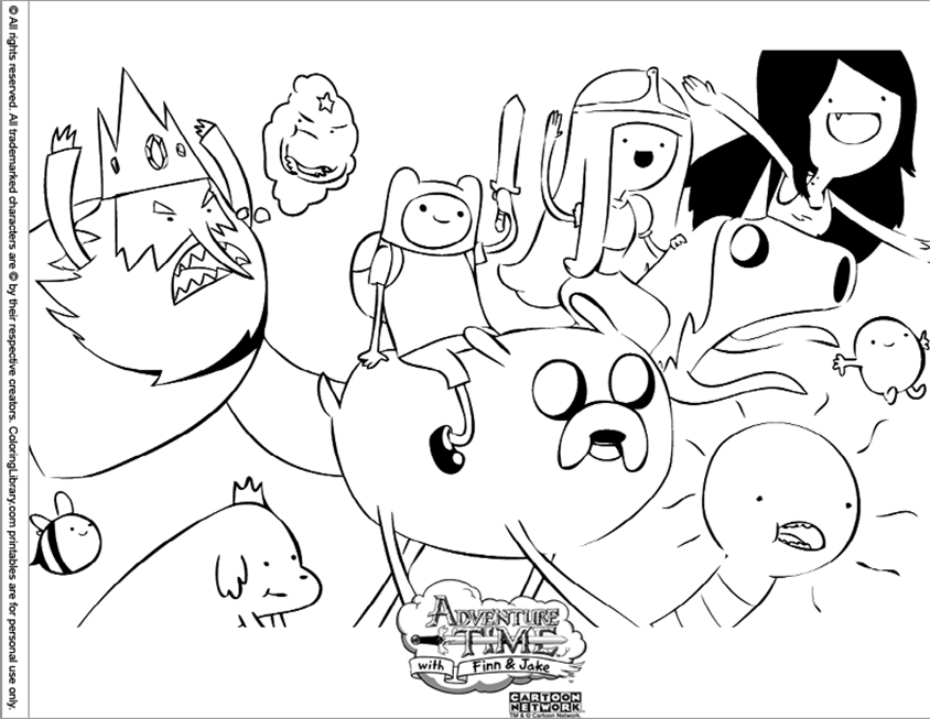 Adventure Time Coloring Pages Free for Toddlers Finn 80 - Free ...