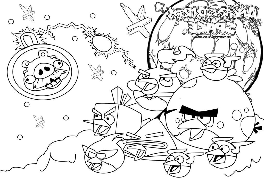 Free Angry Birds Coloring Pages Bird Space Hand Drawing printable