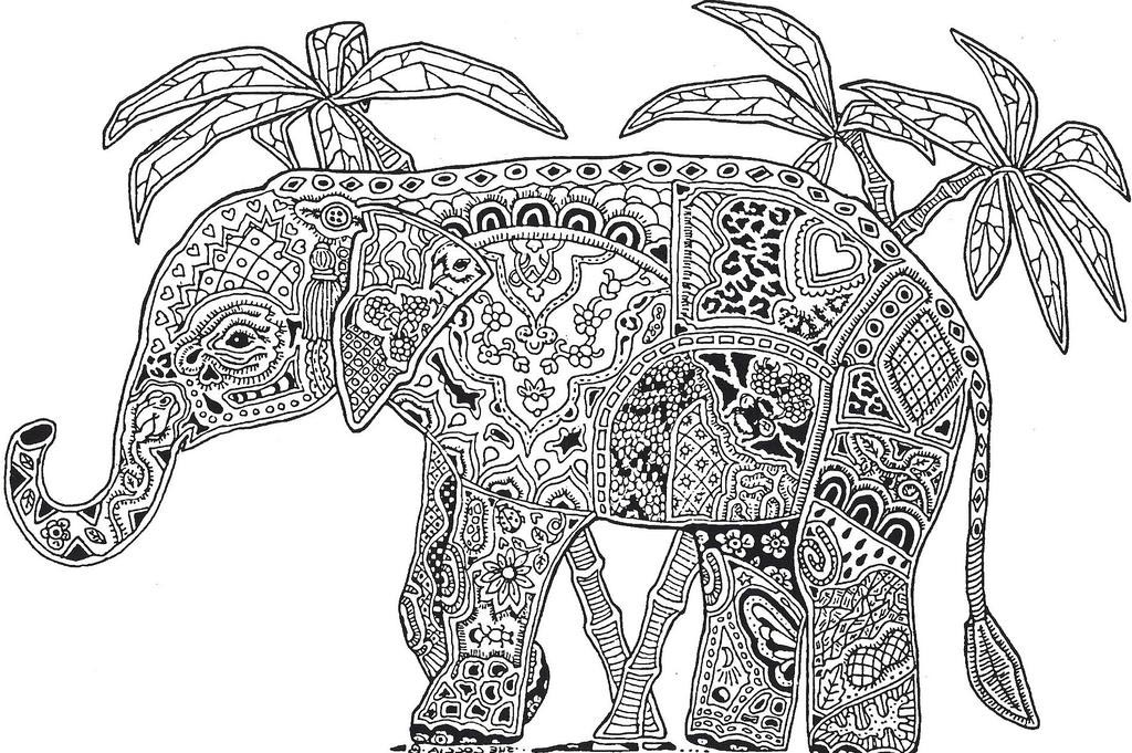 Free Animal Mandala Coloring Pages Elephant for Boys printable