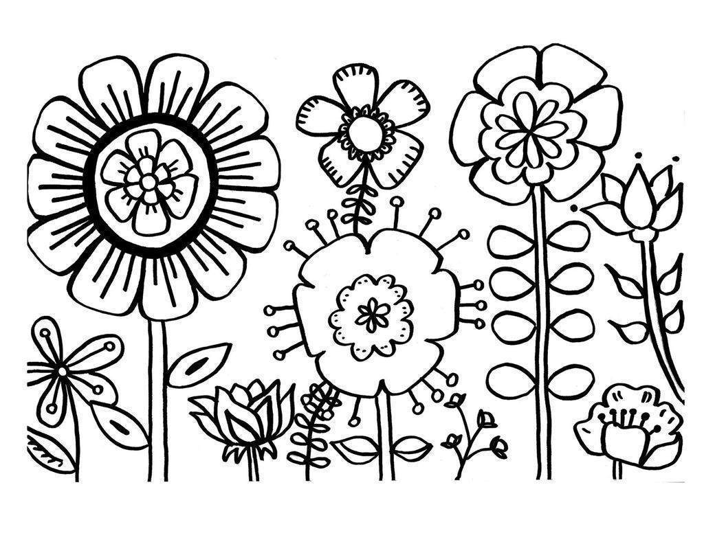 Butterfly And Flower Coloring Pages Flowers Butterflies Drawing