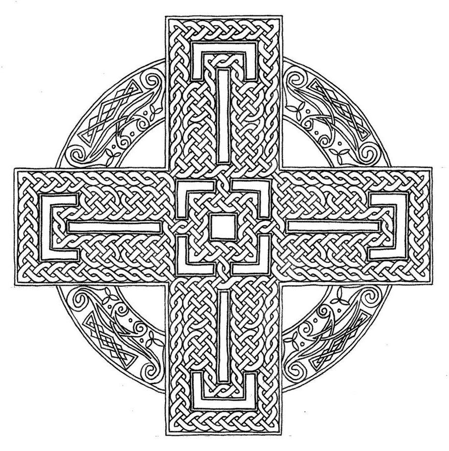 Celtic Mandala Coloring Pages Cross Throughout Activity Free
