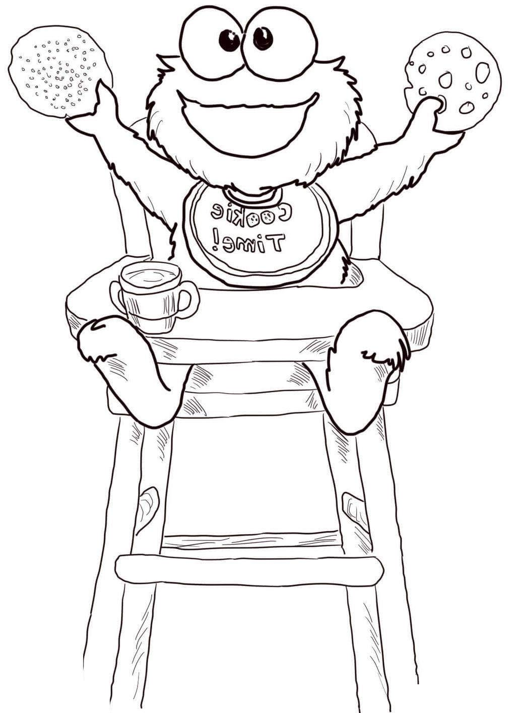 Cookie Monster Coloring Pages Time Black and White - Free ...
