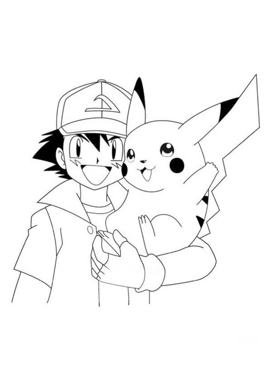 Easy Pikachu Coloring Pages Ash