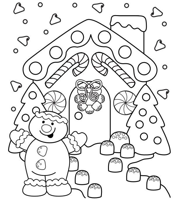 Christmas Gingerbread House Coloring Pages.Gingerbread House Coloring Pages New Coloring Book Christmas