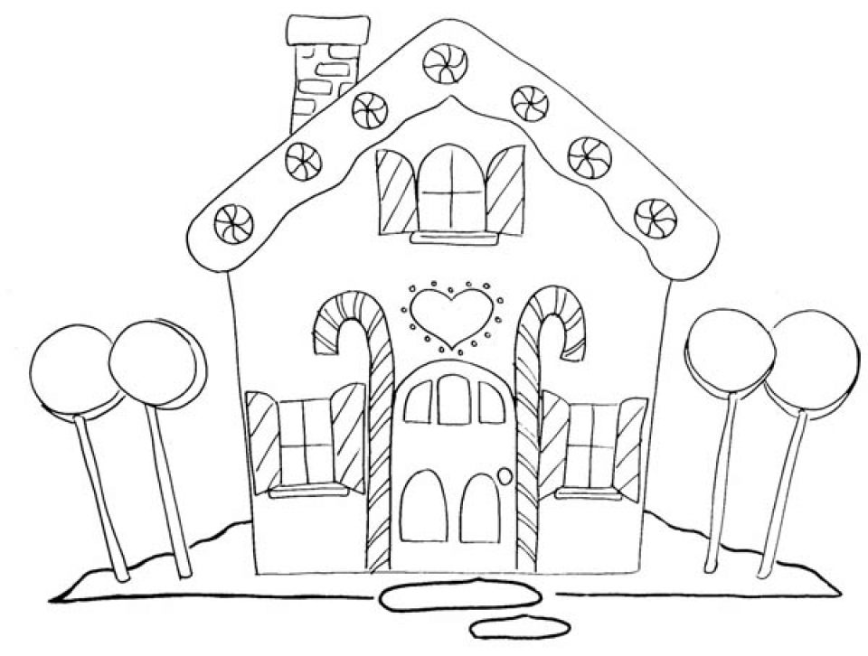 Free Gingerbread House Coloring Pages Printable Drawings 466 printable