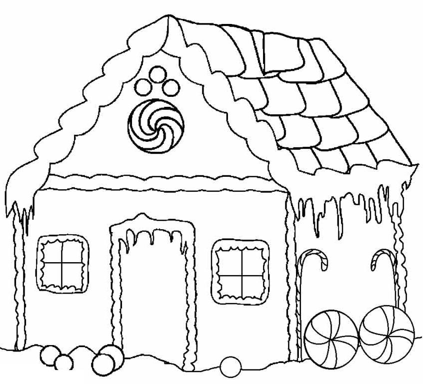 Free Gingerbread House Coloring Pages Printable Linear 415 printable