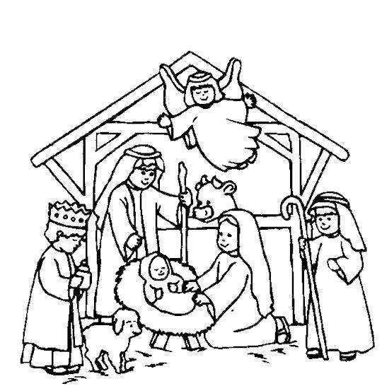 Nativity Coloring Pages Printable Black and White Scene Kids Crafts ...