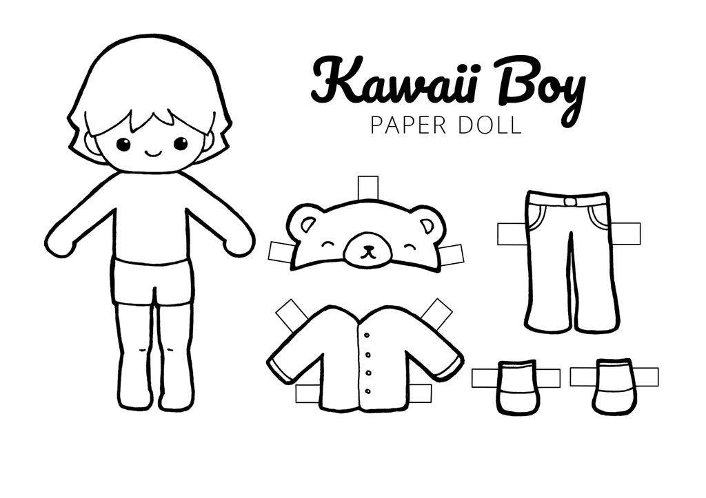 Paper Doll Coloring Pages Kawaii Dolls Drawing Pictures Free
