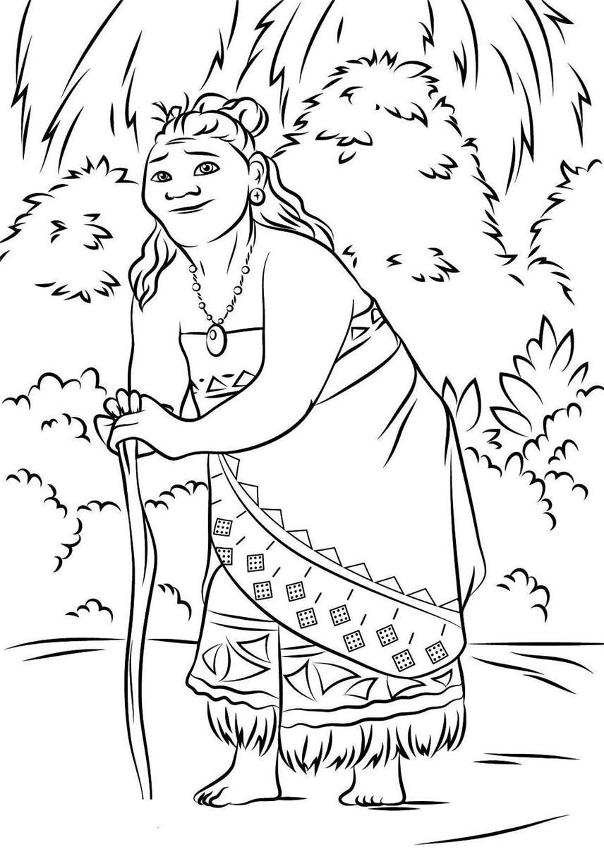 photo about Free Printable Moana Coloring Pages called Printable Moana Coloring Webpages Gramma Tala - No cost Printable