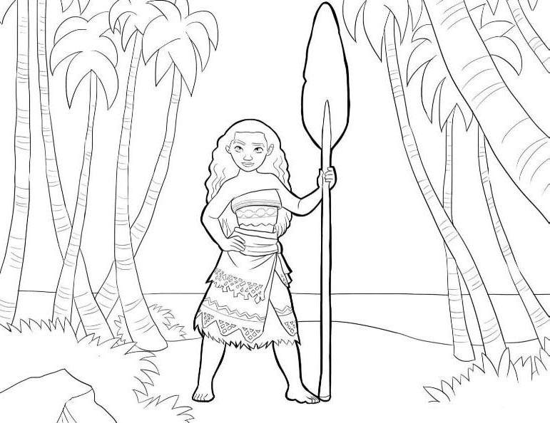graphic relating to Moana Coloring Pages Printable titled Straightforward Moana Coloring Internet pages Determine - Totally free Printable