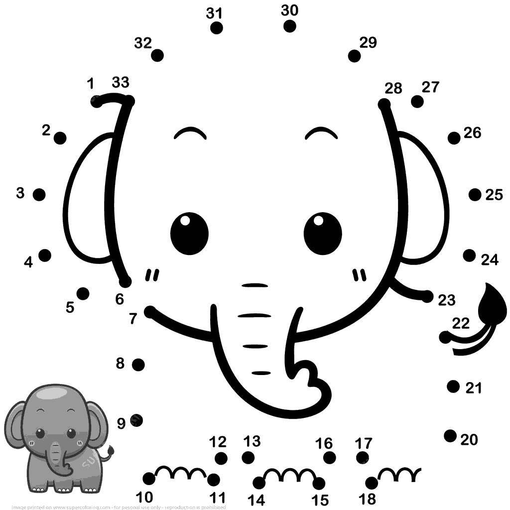Baby Elephant Coloring Pages Dot Hand Drawing Free