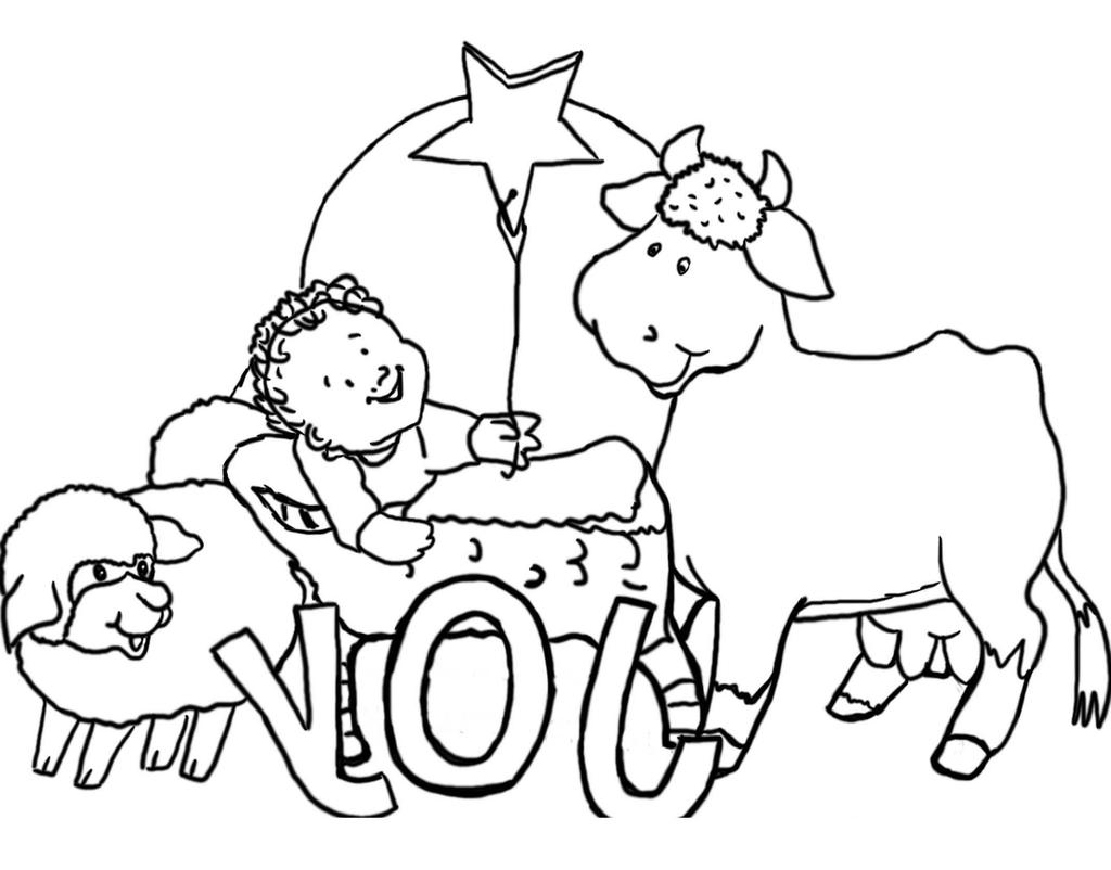 Children Christmas Coloring Pages Christian Drawing