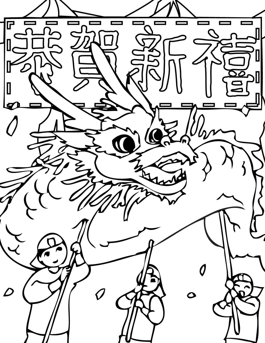Free Chinese New Year Coloring Pages Ace for Kids printable