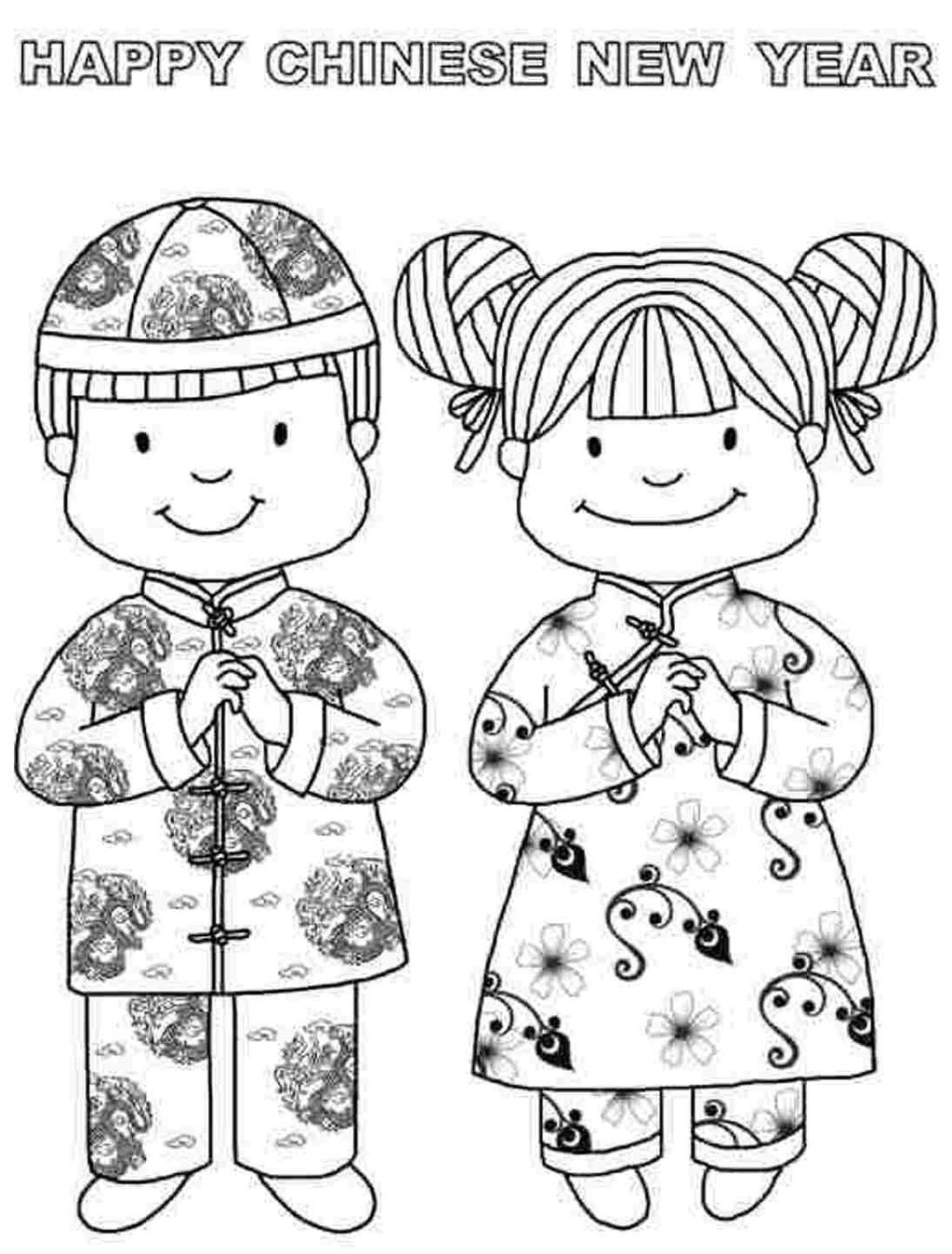 Chinese New Year Coloring Pages Kids Line Drawing - Free ...