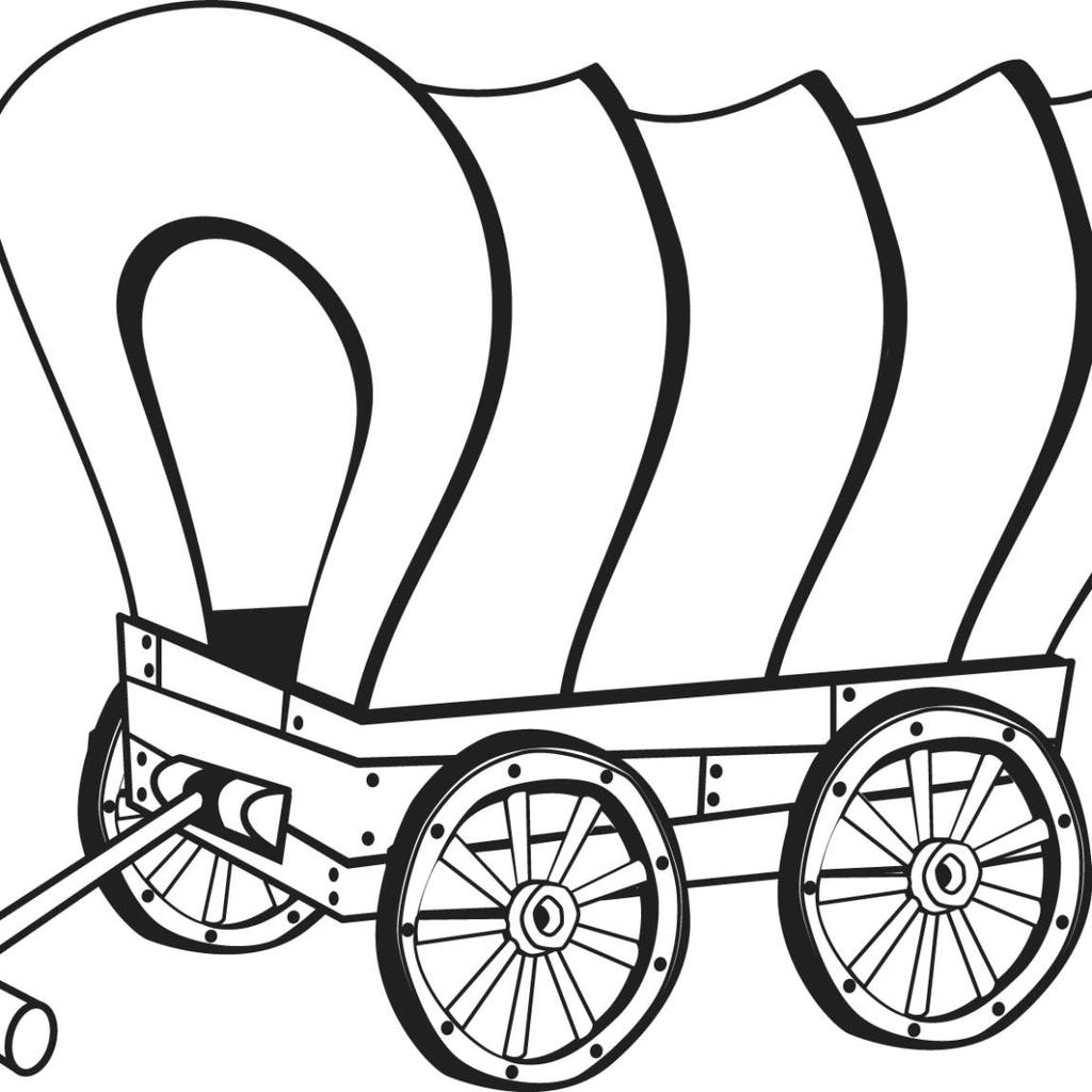 Free Covered Wagon Coloring Pages Pioneer Unit Lineart printable