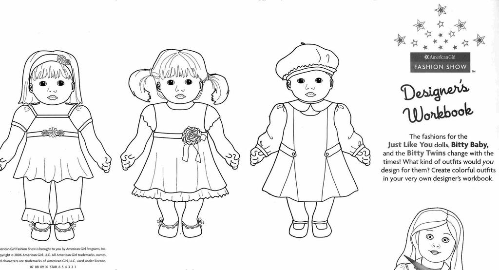 Free Cute American Girl Coloring Pages Doll And printable