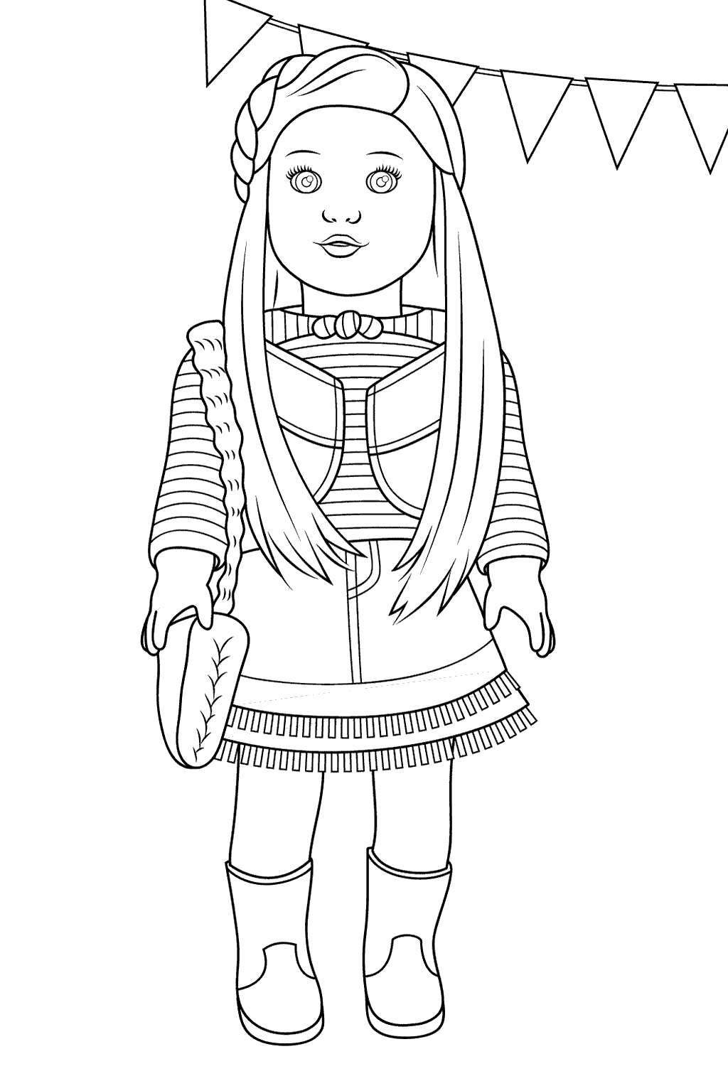 Free Cute American Girl Coloring Pages Mckenna Linear printable
