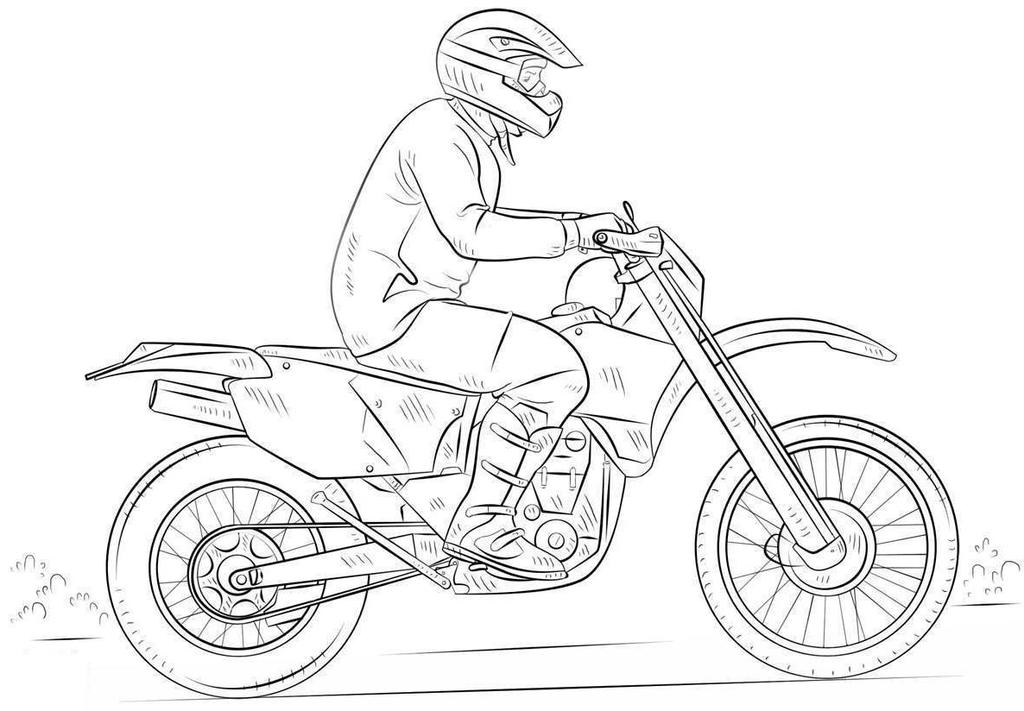 Dirt Bike Coloring Pages Hand Drawing - Free Printable Coloring Pages