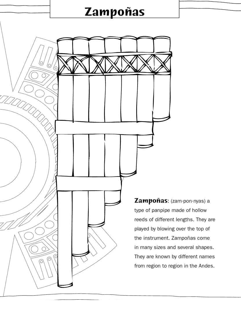 Early America Coloring Pages Musical Instruments Free Printable